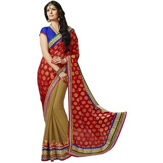 Triveni Multicolor Viscose Chiffon Lace Saree With Blouse