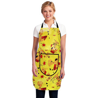 Dreams Home Single PVC  Waterproof Adjustable Apron With Front Pocket,Yellow