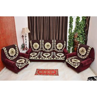 Manvi Creations Brown Floral Design Sofa Cover