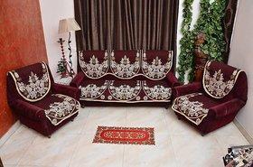 Manvi Creations Maroon Floral Design 5 Seater sofa Cover