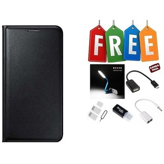 Flip Cover Case For Gionee X1s With Free Led, Otg Cable, Card Reader, Sim Adapter and Earphone Splitter