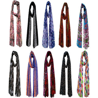 Printed Poly Cotton Set of Ten mullticoloured stoles scarf and stoles for women