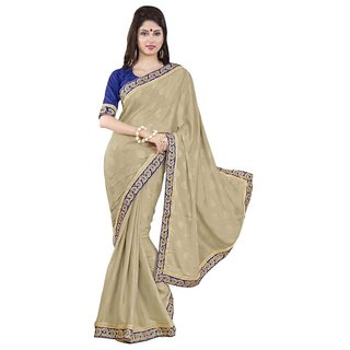 Triveni Brown Jacquard Embroidered Saree With Blouse