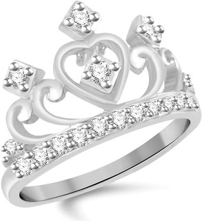 VK Jewels Crown Heart Rhodium Plated Alloy Ring for Women  Girls Made With Cubic Zirconia- FR1995R VKFR1995R8