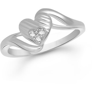 VK Jewels Sacred Heart Rhodium Plated Alloy Ring for Women & Girls Made With Cubic Zirconia- FR1657R [VKFR1657R8]