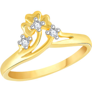 VK Jewels Three Stone Gold and Rhodium Plated Alloy Ring for Women & Girls Made With Cubic Zirconia- FR2603G [VKFR2603G8]