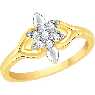 VK Jewels Fascinating Gold and Rhodium Plated Alloy Ring for Women & Girls Made With Cubic Zirconia- FR2606G [VKFR2606G8]