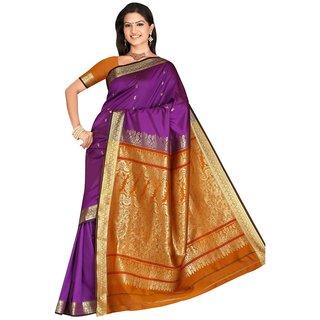 Triveni Purple Art Silk Printed Saree With Blouse