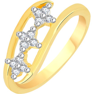 VK Jewels Three Stars Gold and Rhodium Plated Alloy CZ American Diamond Ring for Women [VKFR2768G8]