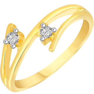 VK Jewels Delight Two Stone Gold and Rhodium Plated Alloy CZ American Diamond Ring for Women [VKFR2769G8]