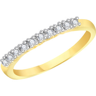 VK Jewels Love Band Gold and Rhodium Plated Alloy CZ American Diamond Ring for Women [VKFR2771G8]