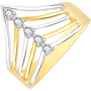 VK Jewels Five Stone Gold and Rhodium Plated Alloy CZ American Diamond Ring for Women [VKFR2772G8]