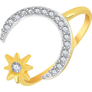 VK Jewels Moon with Star Gold and Rhodium Plated Alloy CZ American Diamond Ring for Women [VKFR2773G8]