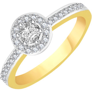VK Jewels Solitaire Gold and Rhodium Plated Alloy CZ American Diamond Ring for Women [VKFR2774G8]