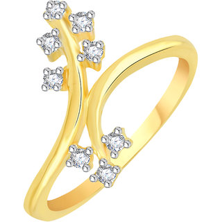 VK Jewels Crossover Leaf Gold and Rhodium Plated Alloy CZ American Diamond Ring for Women [VKFR2775G8]
