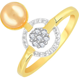 VK Jewels Pearl Studded Gold and Rhodium Plated Alloy CZ American Diamond Ring for Women [VKFR2776G8]