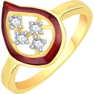VK Jewels Paisley Red Gold and Rhodium Plated Alloy CZ American Diamond Ring for Women [VKFR2778G8]