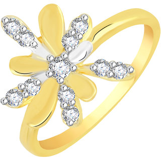 VK Jewels Sparkling Gold and Rhodium Plated Alloy CZ American Diamond Ring for Women [VKFR2779G8]