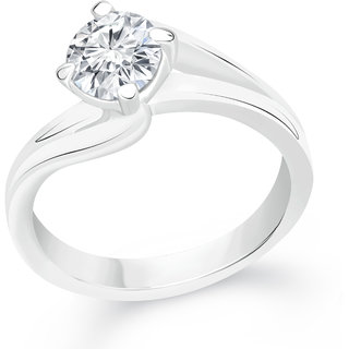 VK Jewels Solitaire Rhodium Plated Alloy CZ American Diamond Ring for Women [VKFR2387R8]