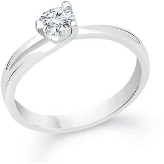 VK Jewels Solitaire Rhodium Plated Alloy CZ American Diamond Ring for Women [VKFR2392R8]