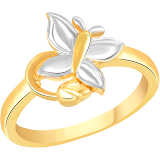 VK Jewels Butterfly Gold and Rhodium Plated Alloy Ring for Women & Girls [VKFR2581G8]
