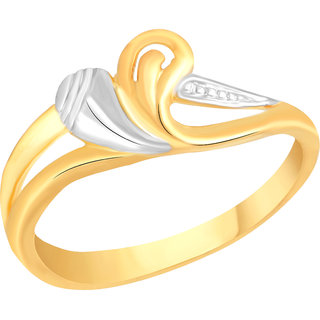 VK Jewels Leaf with Heart Gold and Rhodium Plated Alloy Ring for Women & Girls [VKFR2582G8]