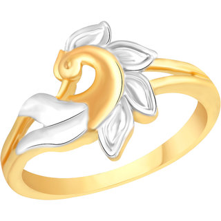 VK Jewels Peacock Gold and Rhodium Plated Alloy Ring for Women & Girls [VKFR2585G8]