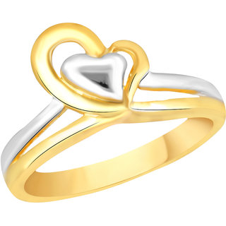 VK Jewels Heart Gold and Rhodium Plated Alloy Ring for Women & Girls [VKFR2590G8]