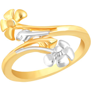 VK Jewels Shapely Leafs Gold and Rhodium Plated Alloy Ring for Women & Girls [VKFR2600G8]