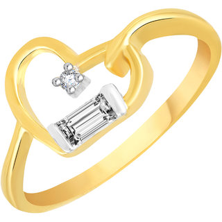 VK Jewels Tiny Heart Gold and Rhodium Plated Alloy CZ American Diamond Ring for Women [VKFR2767G8]