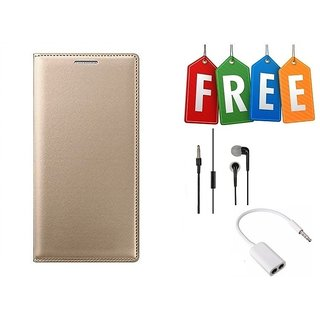 Flip Cover Case For Samsung Galaxy J2(2016) With Free Earphone and Audio Splitter