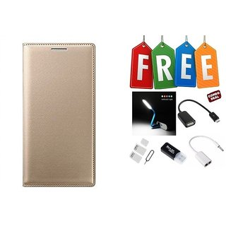 Flip Cover Case For Samsung Galaxy J2(2016) With Free Led, Otg Cable, Card Reader, Sim Adapter and Earphone Splitter
