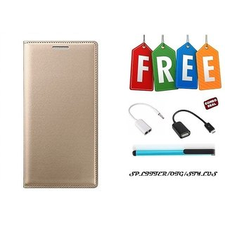 Samsung Galaxy A7(2016) Flip Cover Case With Free OTG Cable, Stylus and Audio Splitter