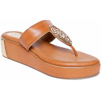 Siendo Desi Open Heel T-Strap Slip-on For Women - Brown