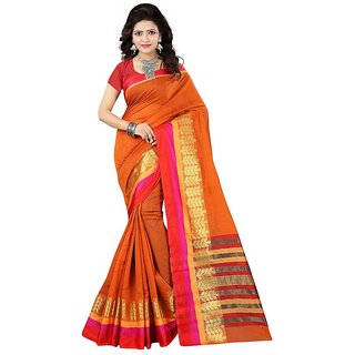 Orange Coloured Ethnic Women's Saree With Blouse Piece By VASTRA