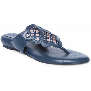 Siendo Desi Open Flat V-Strap Slip-on for Women - Blue