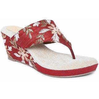 Siendo Desi Open Heel Embroidery V-Strap Slip-on for Women - Maroon