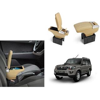 Autonity Car Stylish Armrest with Glass Holder+Ashtray beige For Mahindra Scorpio