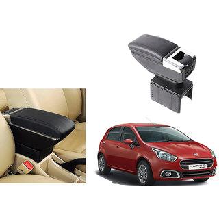 Autonity Car Stylish Armrest with Glass Holder+Ashtray Black For Fiat Punto Evo