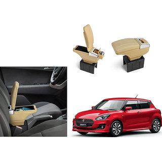 Autonity Car Stylish Armrest with Glass Holder+Ashtray beige For Maruti Suzuki New Swift (Type 3 2017)