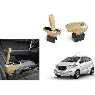 Autonity Car Stylish Armrest with Glass Holder+Ashtray beige For Datsun Redi GO