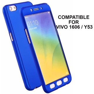 MOBIMON 360 Degree Full Body Protection Front Back Case Cover (iPaky Style) with Tempered Glass for VIVO Y53 (Blue)
