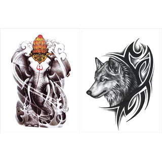 Buy Combo Of 2 Sheets Of Temporary Tattoos Ganesha And Wolf Face Arm
