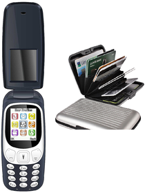Combo of IKall K3312 Flip Phone 18 Inch Dual Sim Vibration  Bis Certified Made In India mobile Aluminium wallet