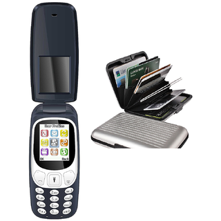 Combo of IKall K3312 Flip Phone (1.8 Inch, Dual Sim, Vibration , Bis Certified Made In India) mobile+ Aluminium wallet