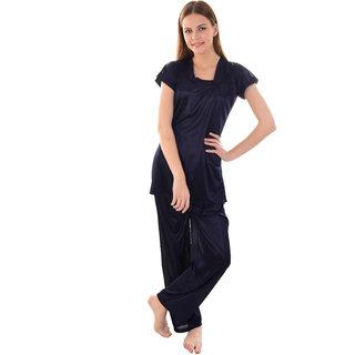 Senslife women satin nightwear night suit hip length top and pajama set SL031