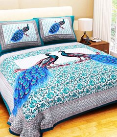 Unique Choice Peacock Print 100% Cotton King Size Bedsheet with 2 Pillow Covers
