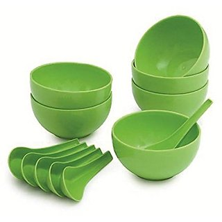 GTC Premium Quality Round Shape soup Bowls Set (6 Bowl and 6 Spoon) - Microwave Safe - Green - for Home Office use