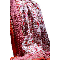 Jaipuri Traditional Ethnic Double Cotton Quilt In Pink & Orange Flower Design