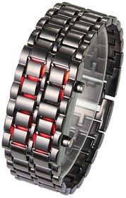 NG Stainless Steel Black Belt Red Led Bracelet Sport Digital Watch - For Men, Boys